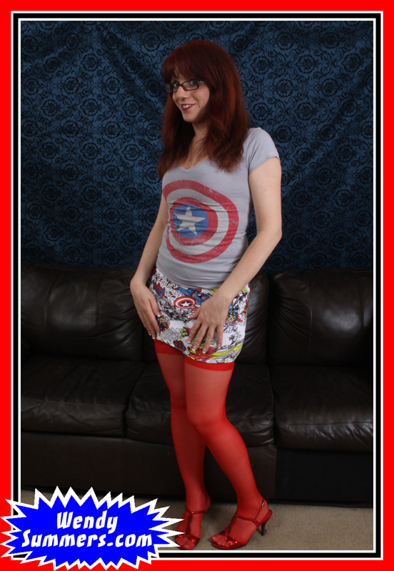 Wendy Summers wearing her Captain America t shirt