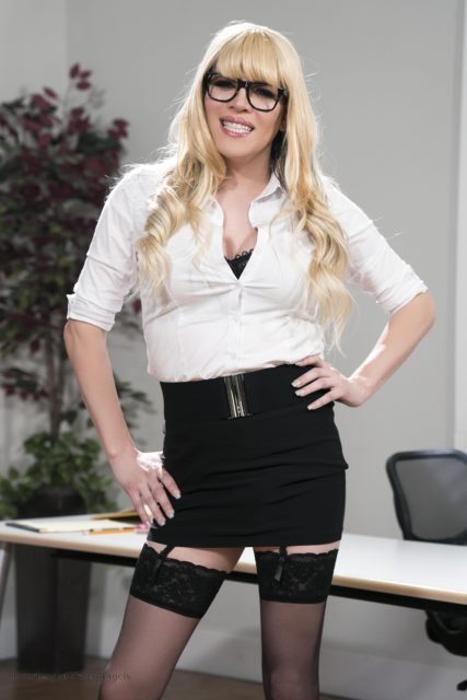 Jesse Flores XXXBios - Busty blonde bombshell TS Jesse Flores in sexy librarian outfit with glasses, white shirt, black belt tight black skirt, black lacy stockings and suspenders - Don't Shush Me! Trans Angels Jesse Flores porn pics sfw