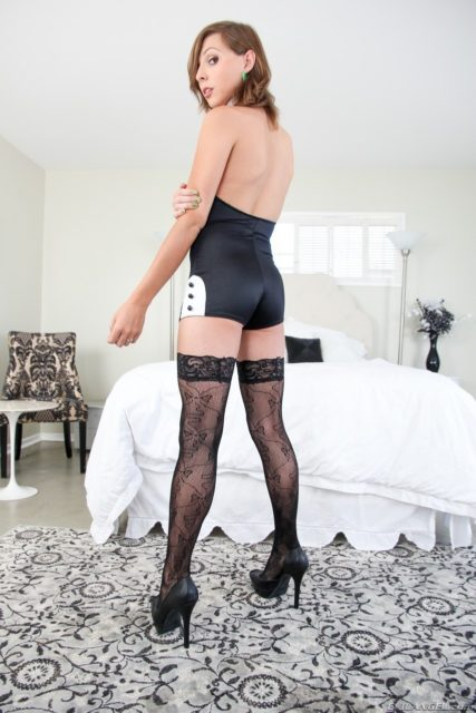 Sienna Grace XXXBios - TS Sienna Grace in sexy black and white lingerie French maids outfit and lace stockings and black high heels - Evil Angel Sienna Grace porn pics sfw - Sexy petite tgirl Sienna Grace ass and legs pics