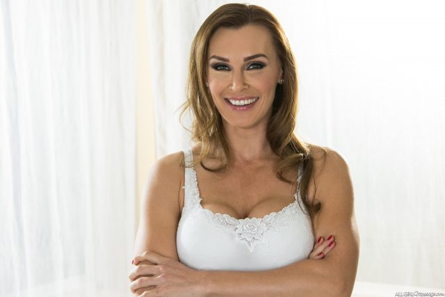 Tanya Tate AdultWebcamSites - Busty blonde MILF pornstar Tanya Tate in sexy white vest top - All-Girl Massage Fantasy Massage Tanya Tate porn pics sfw