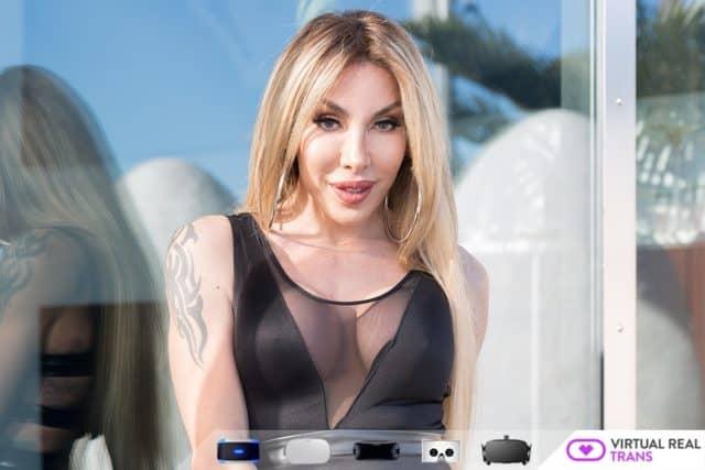 Eva Paradis XXXBios - Busty blonde tgirl Eva Paradis VR porn scenes sfw pics - Eva Paradis in sexy black leather PVC dress with sheer panels - Virtual Real Trans Eva Paradis porn pics - TS Eva Paradis sfw pics