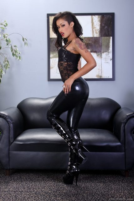 Skin Diamond AdultWebcamSites - Hot all natural tattoos pornstar Skin Diamond in sexy black lace top, black leather latex pants and thigh high leather PVC boots - Femdom Ass Worship 11 Evil Angel Skin Diamond porn pics sfw