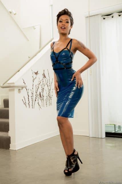 Skin Diamond AdultWebcamSites - Hot all natural tattoos pornstar Skin Diamond in sexy blue latex dress and black high heels - Lesbian Anal Sex Slaves 2 Evil Angel Skin Diamond porn pics sfw