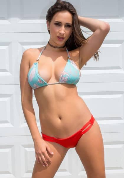 Big natural tits pornstars AdultWebcamSites - Natural busty pornstar Ashley Adams in blue and red bikini - Wankz VR porn Ashley Adams sfw pics