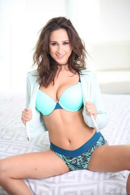Big natural tits pornstars AdultWebcamSites - Natural busty pornstar Ashley Adams in sexy blue bra, panties and white top porn pics
