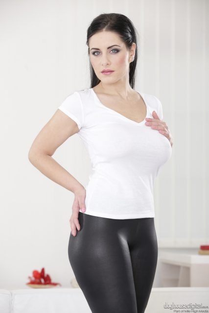 Alex Black AdultWebcamSites - Alex Black in sexy white tshirt and black latex leggings - Alex Black sfw pics