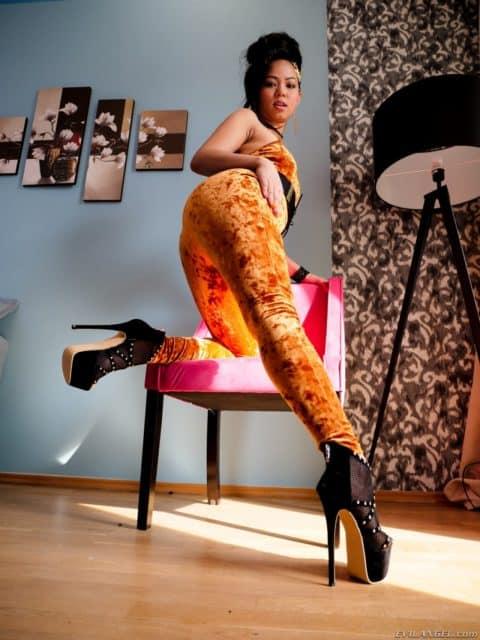 Best VR porn scenes XXXBios - Jureka Del Mar in an orange velour jumpsuit with black high heels - Jureka Del Mar Evil Angel sfw pics