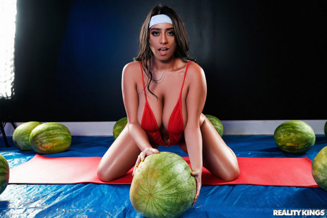 Big natural tits pornstars AdultWebcamSites - Naturally busty pornstar Violet Myers sfw pics in red swimsuit and white headband - Reality Kings Violet Myers Wetter Melons porn pics
