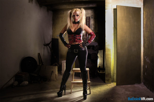 Top VR porn scenes XXXBios - Blondie Fesser in a red and black leather Harley Quinn outfit with knee high boots - Blondie Fesser BaDoink VR porn pics