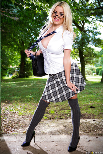 Sienna Day AdultWebcamSites - Busty blonde British pornstar Sienna Day in sexy schoolgirl outfit with glasses, white shirt, tie, tartan skirt, grey knee high socks and black high heels - Big Tits In The Field Brazzers Sienna Day porn pics sfw