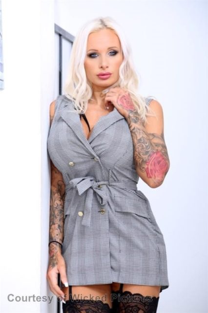 Sophie Anderson AdultWebcamSites - Busty blonde British pornstar with tattoos Sophie Anderson shows off her 32KK big fake tits in sexy grey dress with black lacy stockings and suspenders - Analyzed 2 Evil Angel Sophie Anderson porn pics sfw