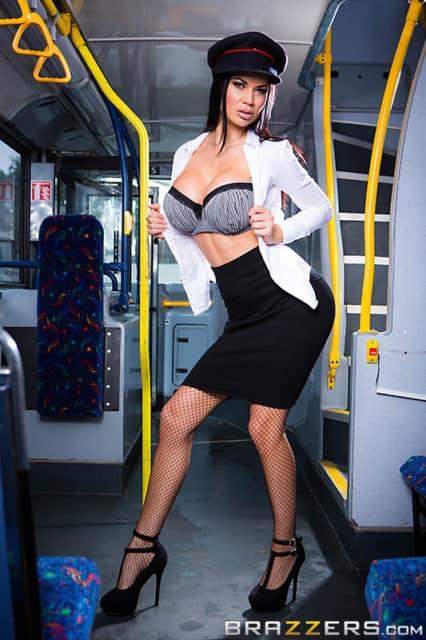 Jasmine Jae AdultWebcamSites - Jasmine Jae in white top, black skirt, lacy bra. fishnet stockings and black high heels - Brazzers Jasmine Jae porn pics sfw