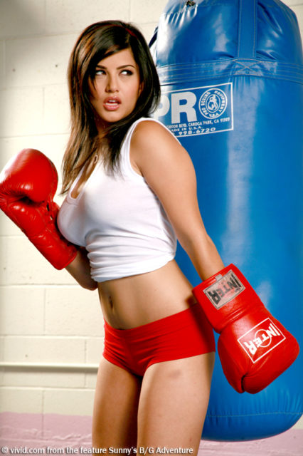 Sunny Leone in boxing gloves and red hotpants