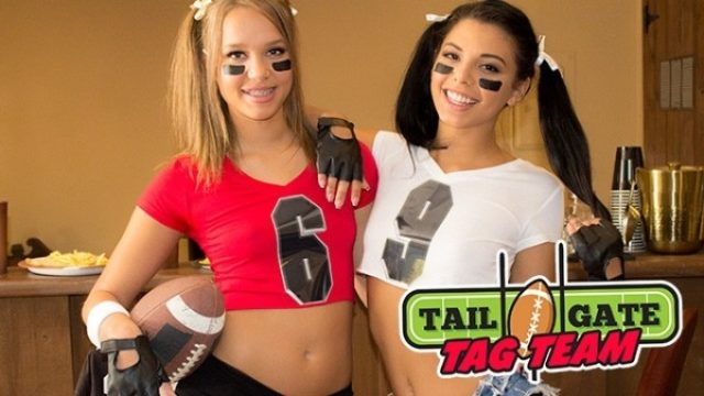 Top VR porn scenes XXXBios - Liza Rowe and Gina Valentina in cropped football shirts - Tailgate Tag Team VR porn sfw pics