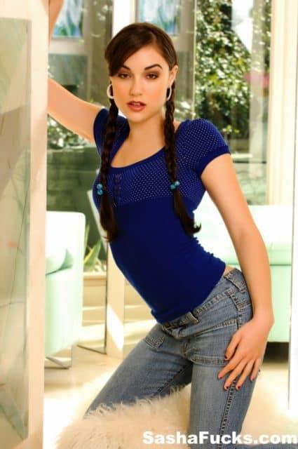 Sasha Grey pigtails and blue shirt