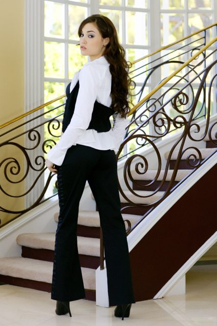 Sasha Grey in sexy black pantsuit with heels