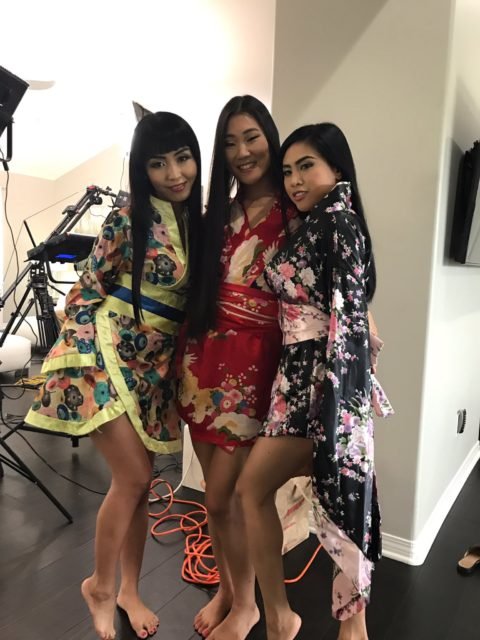 Best VR porn scenes XXXBios - Marica Hase, Katana and Ember Snow in yellow, red and black floral kimonos - VR Hush porn scene pics