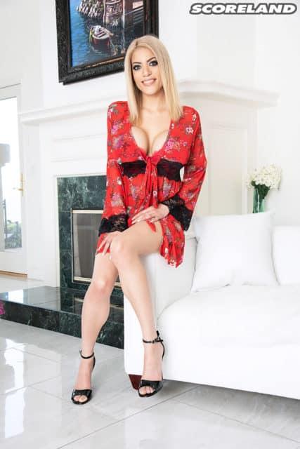 Amber Alena in sexy red robe - Amber Alena AdultWebcamSites porn pics - big boob pornstar pics