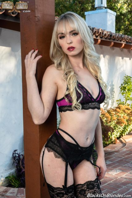 Lilly Bell AdultWebcamSites - Sexy blonde petite pornstar Lilly Bell in pink and black lacy lingerie, stockings suspenders and black high heels - Blacks On Blondes Dogfart Network Lilly Bell porn pics sfw