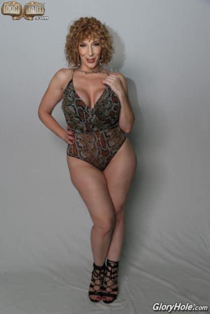 Sara Jay AdultWebcamSites - Hot busty blonde brunette MILF pornstar Sara Jay in sexy animal print bikini and black strappy high heels with curly hair - Sara Jay bust, curves, legs and feet pics - GloryHole Dogfart Network Sara Jay porn pics sfw