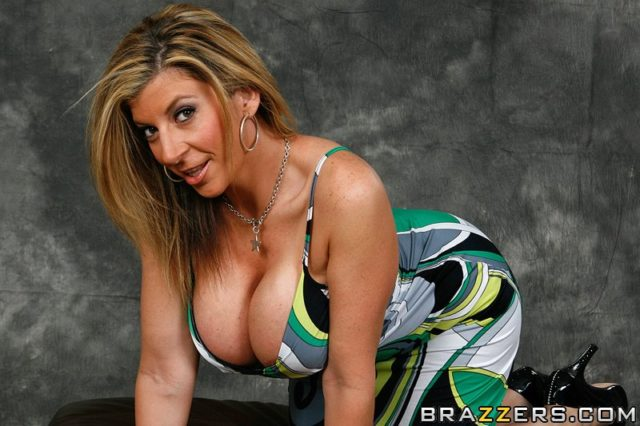Sara Jay AdultWebcamSites - Hot busty blonde brunette MILF pornstar Sara Jay in sexy green patterned dress that shows off her big boobs tits busty cleavage - Picture This Bumpin Uglies Brazzers Sara Jay porn pics sfw