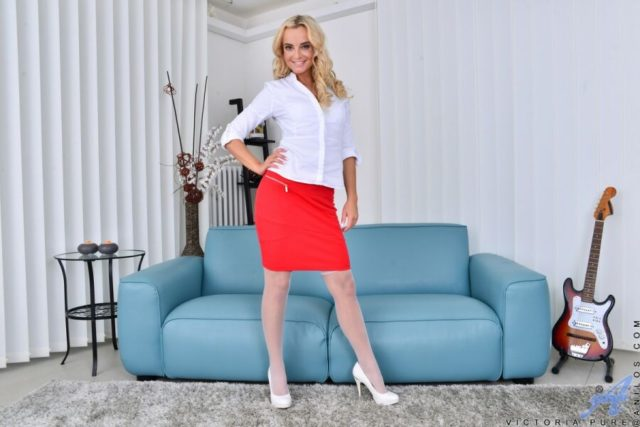 Victoria Pure AdultWebcamSites - Hot blonde Czech European pornstar Victoria Pure in sexy white dress shirt, tight red pencil skirt and white high heels - Anilos.com Victoria Pure porn pics sfw