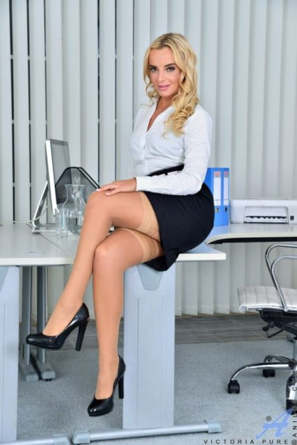 Victoria Pure AdultWebcamSites - Hot blonde Czech European pornstar Victoria Pure in sexy black bra and black panties lingerie with stockings and white shirt, black pencil skirt and black high heels - Anilos Victoria Pure porn pics sfw