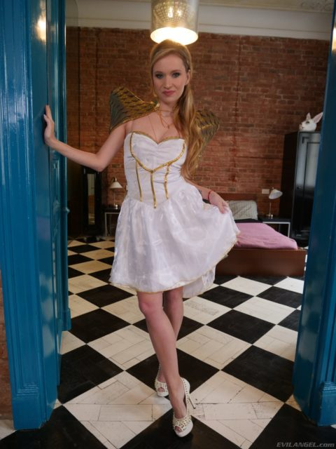 Angel Piaff AdultWebcamSites - Hot blonde all natural Czech pornstar Angel Piaff in sexy gold and white dress with high heels goddess costume - Holey Holes Evil Angel Angel Piaff porn pics sfw