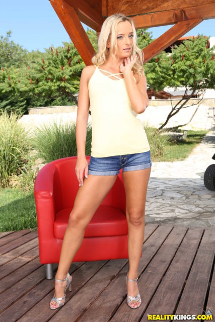 Victoria Pure AdultWebcamSites - Hot blonde Czech European pornstar Victoria Pure in sexy white yellow top, denim booty shorts and strappy high heels that show off her cute toes, feet, legs and curves - Anal Art Of The Deal Reality Kings Victoria Pure porn pics sfw
