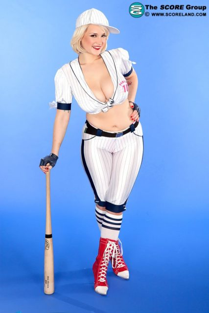 Siri AdultWebcamSites - Hot all natural busty pornstar Siri shows off her natural 32DDD big tits in a sexy white baseball outfit with white baseball cap and red laceup boots - A League Of Her Own Scoreland Siri porn pics sfw