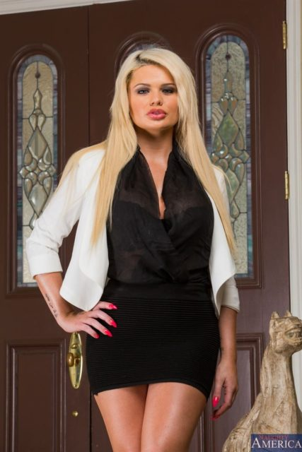 Alexis Ford AdultWebcamSites - Hot busty blonde pornstar Alexis Ford shows off her amazing big tits 32DD boobs in a sexy white blazer and black top dress with black miniskirt - Naughty America Alexis Ford porn pics sfw