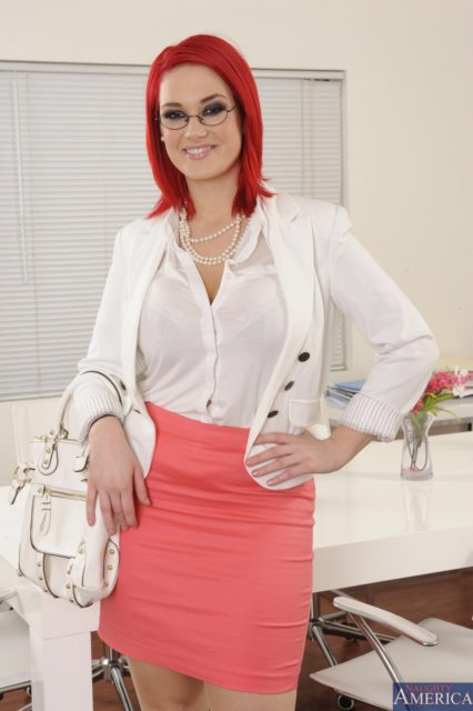 Siri AdultWebcamSites - Hot tall all natural busty pornstar Siri shows off her natural 32DDD big tits in a sexy purple lacy lingerie, white shirt, white blazer and pink skirt - Naughty Office Naughty America with glasses and white pearls necklace - Siri porn pics sfw
