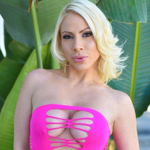 Dolce Vandela AdultWebcamSites - Busty blonde MILF Czech pornstar Dolce Vandela in sexy pink fishnets dress - Dolce Vandela porn pics sfw