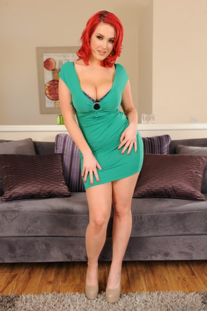 Siri AdultWebcamSites - Hot tall all natural busty pornstar Siri shows off her natural 32DDD big tits in a sexy green dress, blue sheer bra and blue panties with high heels - Gazongas 10 Devil's Film Siri porn pics sfw