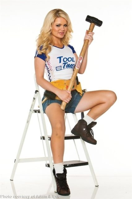 Alexis Ford AdultWebcamSites - Hot busty blonde pornstar Alexis Ford shows off her amazing big tits 32DD boobs in a sexy Tool Time blue and white shirt, denim bootys shorts, white socks and black boots - Home Improvement XXX porn parody Adam & Eve Pictures Alexis Ford porn pics sfw