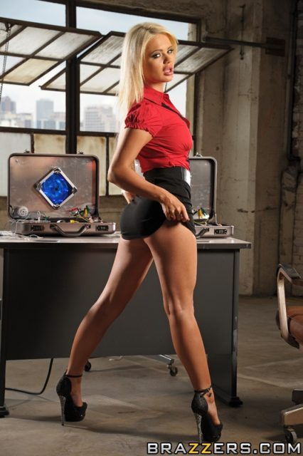 Alexis Ford AdultWebcamSites - Hot busty blonde pornstar Alexis Ford shows off her amazing big tits 32DD boobs in a sexy red shirt, black mini skirt and platform black high heels - Insextion Brazzers Alexis Ford porn pics sfw