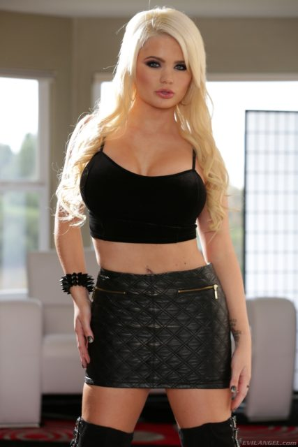 Alexis Ford AdultWebcamSites - Hot busty blonde pornstar Alexis Ford shows off her amazing big tits 32DD boobs in a sexy black cropped top, black leather skirt and thigh high black suede boots - Lex Turns Evil Evil Angel Alexis Ford porn pics sfw