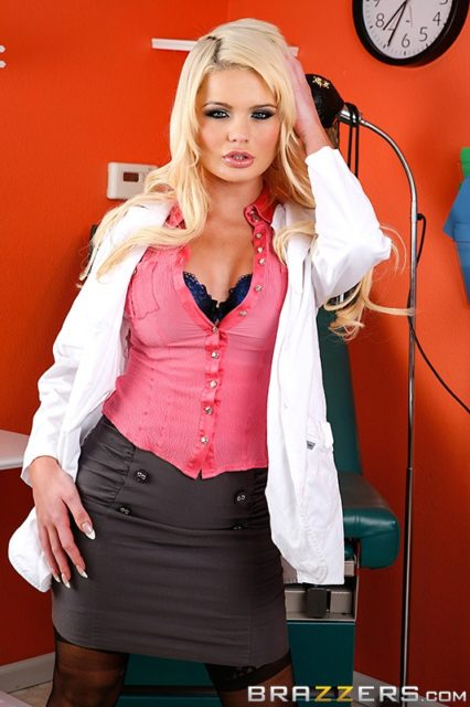 Alexis Ford AdultWebcamSites - Hot busty blonde pornstar Alexis Ford shows off her amazing big tits 32DD boobs in a sexy white doctors coat, black bra, pink shirt and grey skirt with stockings - Pussy Prescription Brazzers Alexis Ford porn pics sfw