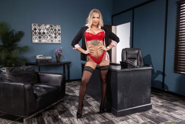 Alison Avery AdultWebcamSites - Hot busty blonde pornstar Alison Avery shows off her 34DD big tits and tattoos in sexy red lacy bra and panties lingerie with black lace stockings, black blazer and high heels - Fill My Quota Brazzers Alison Avery porn pics sfw