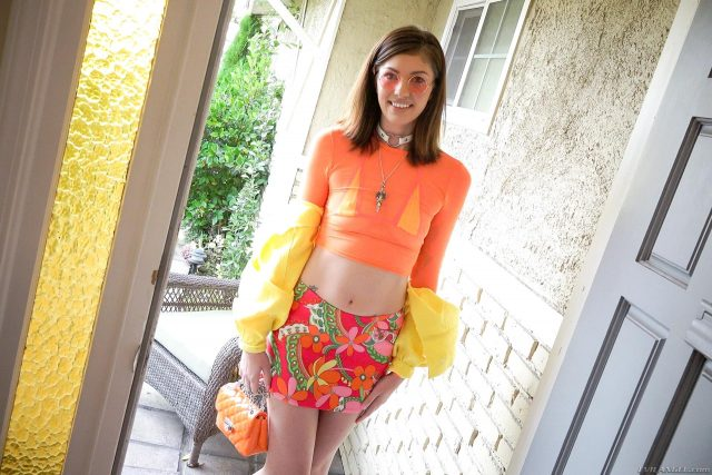 Leah Winters AdultWebcamSites - Hot 5'10 tall brunette new pornstar Leah Winters in sexy yellow jacket, orange fishnets top, yellow bikini top, circle sunglasses, colorful floral pink mini skirt and orange ankle socks with clear platform high heels - Hookup Hotshot Fuck Buddies Evil Angel Leah Winters porn pics sfw