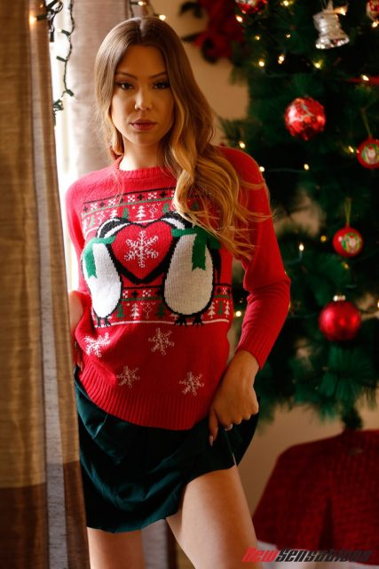 Avery Cristy AdultWebcamSites - Hot new all natural pornstar Avery Cristy in sexy red Christmas sweater and dark green skirt - A Stepfather's Desires 4 Digital Sin New Sensations Avery Cristy porn pics sfw