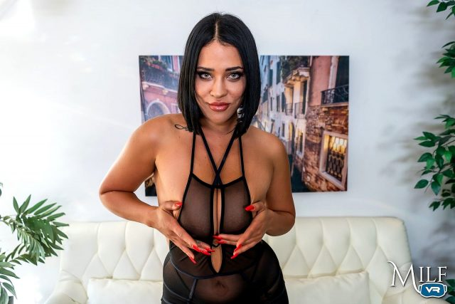 Sahara Leone AdultWebcamSites - Hot Latina busty pornstar Sahara Leone shows off her 34DD big natural tits and amazing ass big butt booty in sexy sheer black lingerie - Practice Makes Perfect MILF VR Sahara Leone porn pics sfw