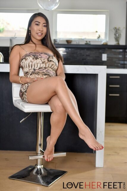 Sharon Lee AdultWebcamSites - Hot all natural French Asian pornstar Sharon Lee shows off her all natural big tits in sexy patterned dress with bare feet in foot fetish porn sex scene - Love Her Feet Sharon Lee porn pics sfw
