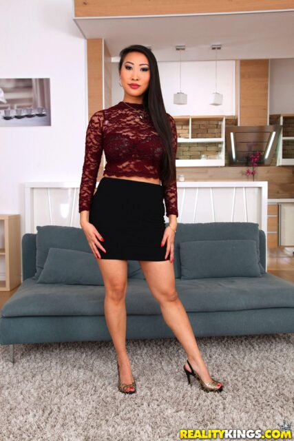 Sharon Lee AdultWebcamSites - Hot all natural French Asian pornstar Sharon Lee shows off her all natural big tits in sexy red lace shirt top and black skirt with high heels - World Class Pussy Reality Kings Sharon Lee porn pics sfw