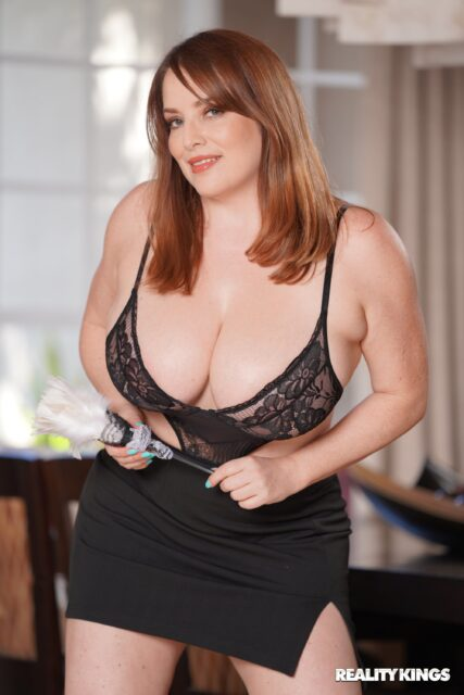 Maggie Green AdultWebcamSites - Hot all natural curvy MILF pornstar Maggie Green shows off her 34G big natural tits and big ass bubble butt booty in sexy black lace bra lingerie and black mini skirt - Rich Girl And Her Maid Reality Kings Maggie Green porn pics sfw