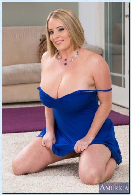Maggie Green AdultWebcamSites - Hot all natural curvy MILF pornstar Maggie Green shows off her 34G big natural tits and big ass bubble butt booty in sexy blue dress - My Friend's Hot Mom Naughty America Maggie Green porn pics sfw