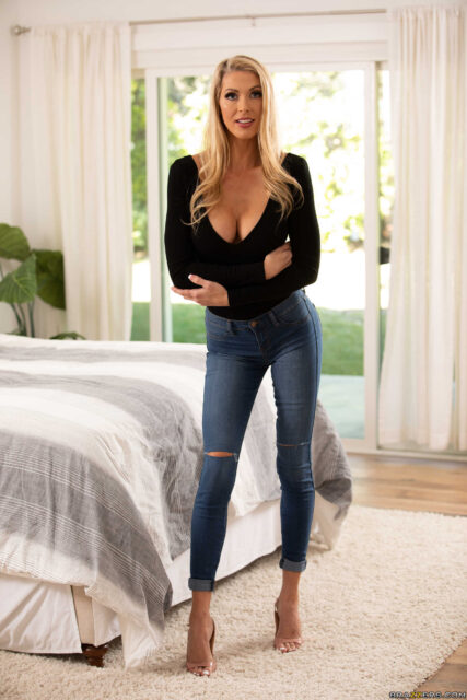 Holly Hotwife XXXBios - Hot tall busty blonde MILF pornstar Holly Hotwife shows off her long legs and big tits in sexy black sweater, ripped blue jeans and high heels - Brazzers Holly Hotwife porn pics sfw