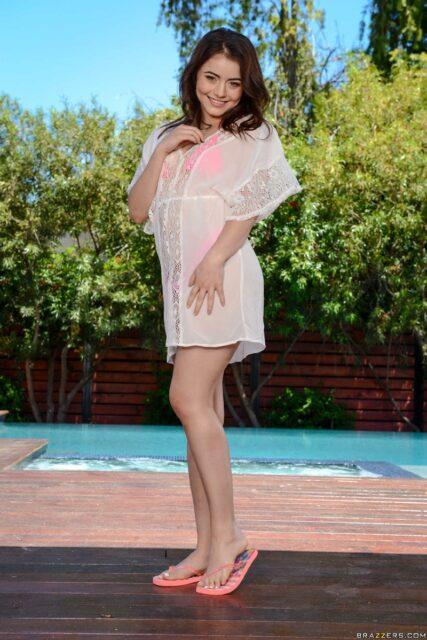 Kylie Quinn XXXBios - Hot petite all natural brunette teen pornstar Kylie Quinn in sexy sheer white sarong and pink bikini with barefeet - Brazzers Kylie Quinn porn pics sfw