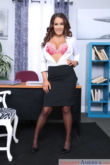 Mila Marx XXXBios - Hot petite all natural Latina pornstar Mila Marx shows off her natural big boobs and big ass bubble butt booty in sexy white shirt, black skirt, black stockings, pink lacy lingerie and high heels - Naughty Office Naughty America Mila Marx porn pics sfw