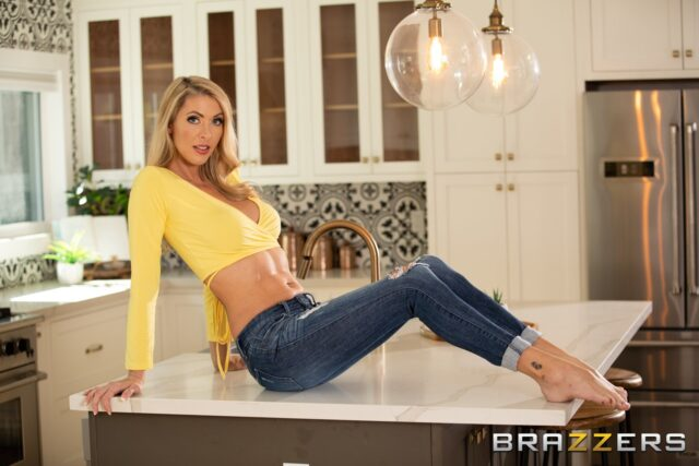 Holly Hotwife XXXBios - Hot tall busty blonde MILF pornstar Holly Hotwife shows off her long legs and big tits in sexy cropped yellow sweater, jeans and high heels - Brazzers Holly Hotwife porn pics sfw